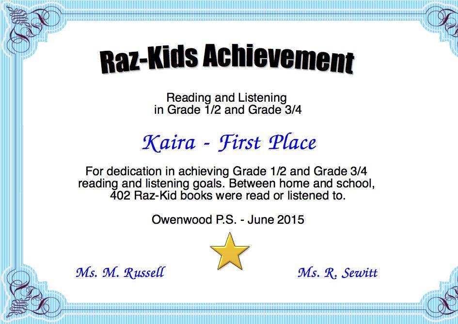 Raz-Kids Achievement Certificate | Created with Certificatefun.com