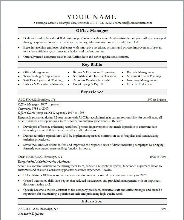 Office Manager Resume Sample Objective Resume Office Manager For ...
