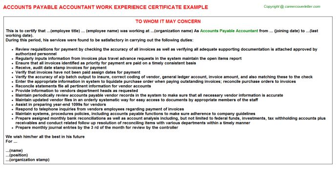 Accounts Payable Accountant Work Experience Certificate