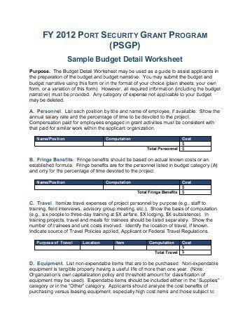 PSGP) Sample Budget Detail Worksheet