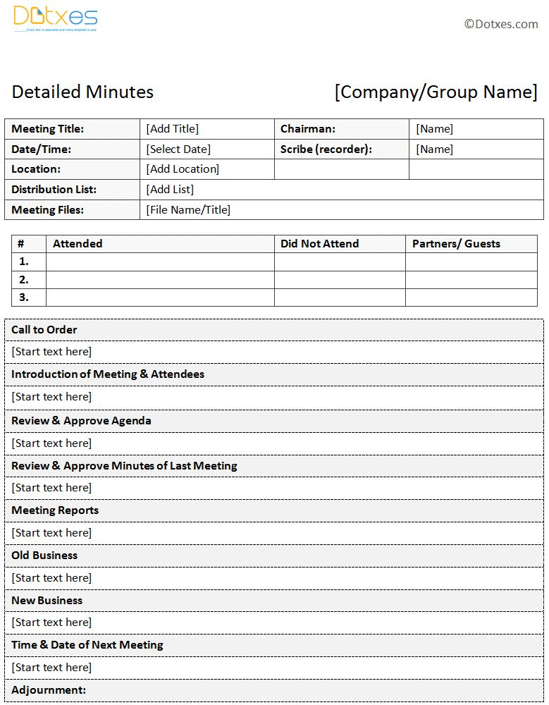 Meeting Minutes Template | cyberuse