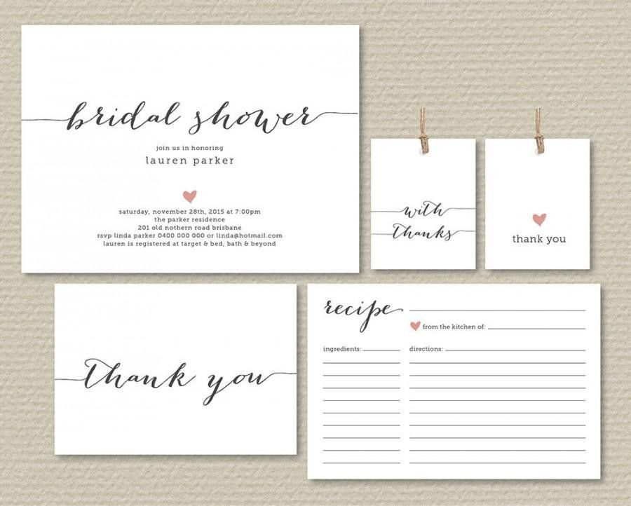 Printable Bridal Shower Invitation, Recipe Card, Thank You Card ...