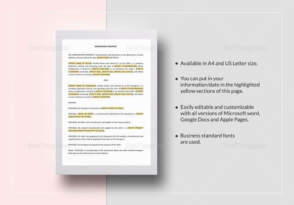 Consignment Contract Template - 4 Free Word, PDF Documents ...