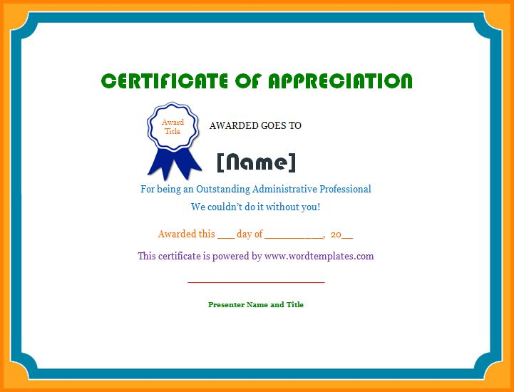 6+ certificate of appreciation template word | memo templates