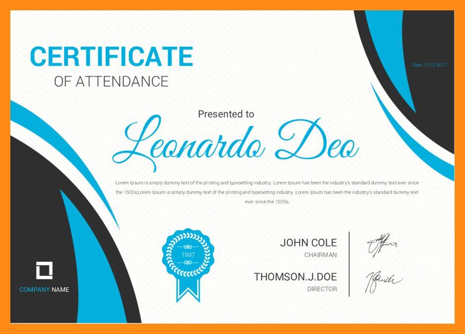 4+ certificate of attendance | actor resumed