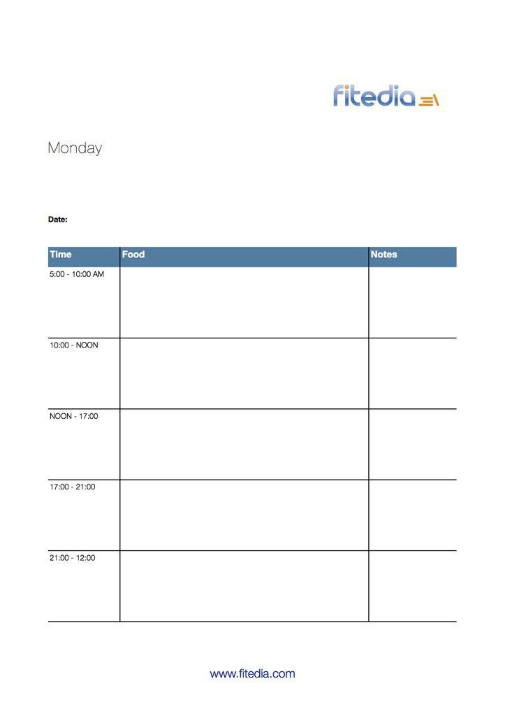 Free food diary template, perfect for personal trainers ...