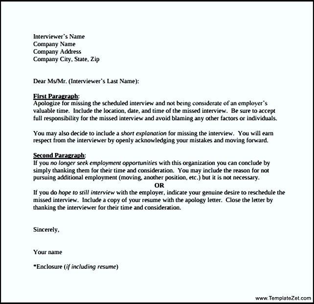 Sample Letter of Apology for Missed Interview | TemplateZet