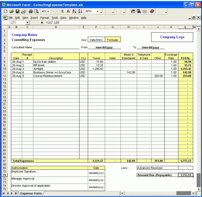 Consulting Expense Excel Template is an easy to use expense claim ...