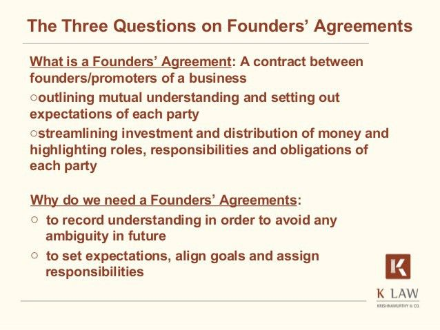 Founders' agreement - A critical start for a start-up (Naina Krishnam…