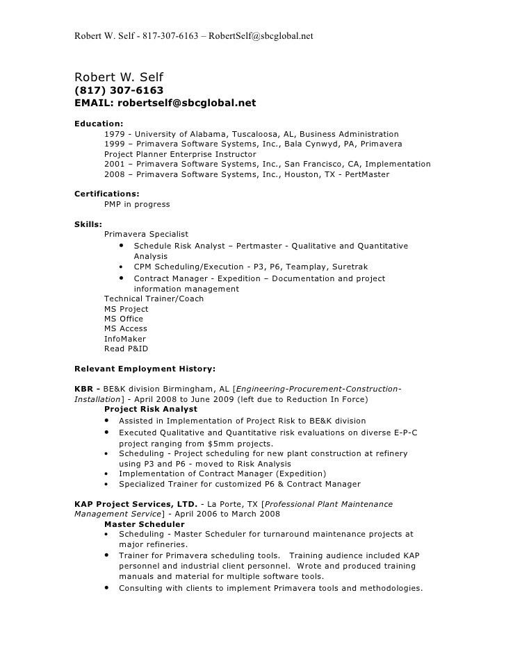 Robert W Self Resume 2009