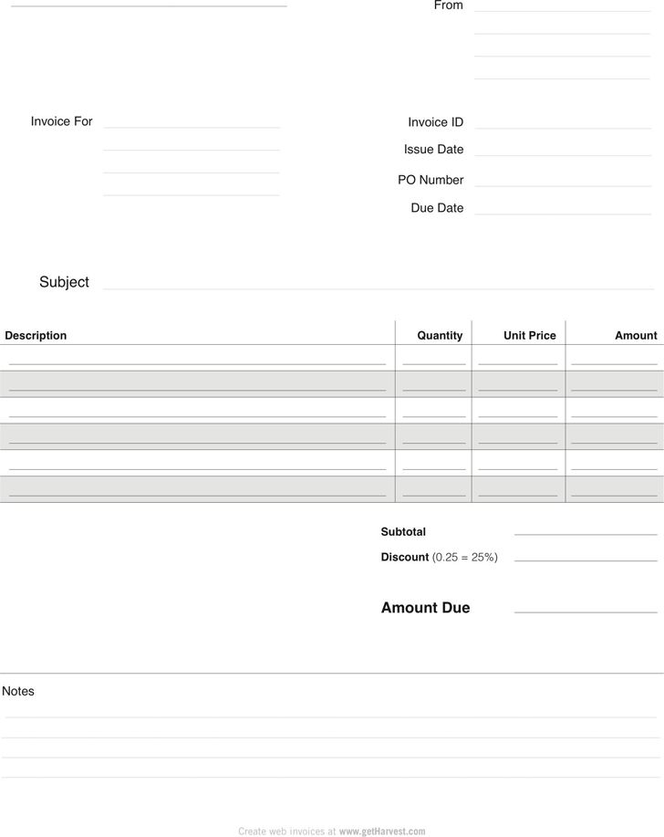 Blank Invoice | Template Sample