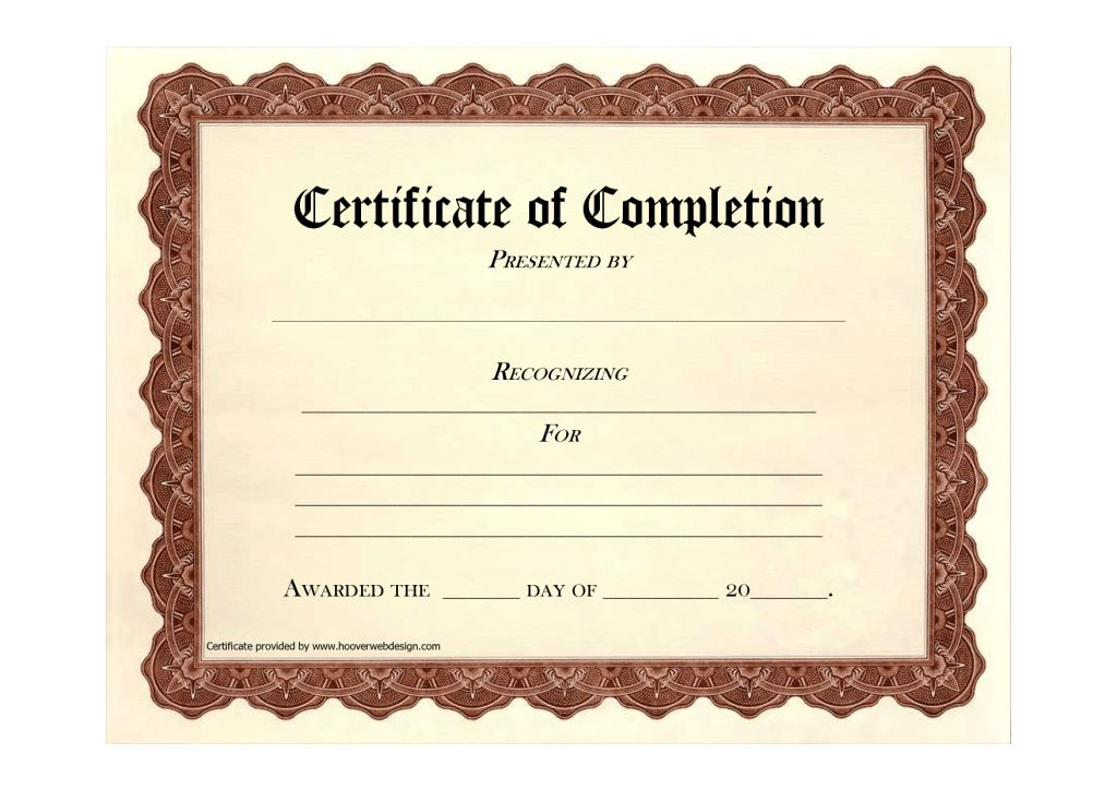 Free Certificate of Completion Program Template Sample : Helloalive