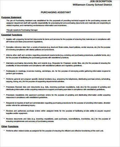 Purchasing Job Description Sample - 10+ Examples in Word, PDF