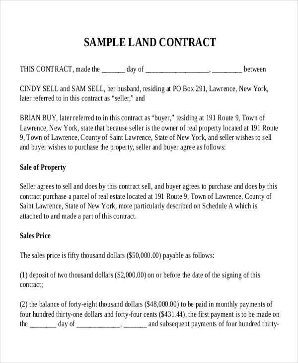 7+ Land Contract Templates - Free Sample,Example Format Download ...