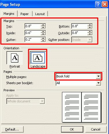 Creating a Folded Booklet in Microsoft Word