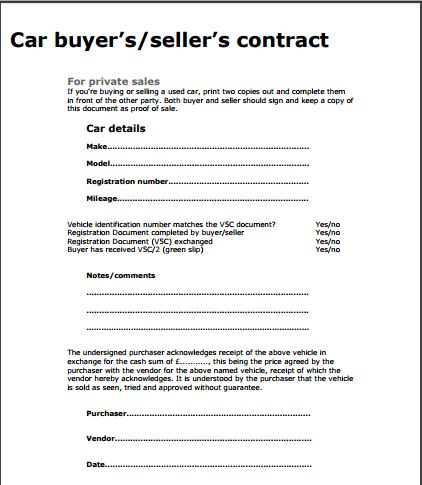 28+ Sale Of Car Contract Template | Car Sales Contract Sample As ...