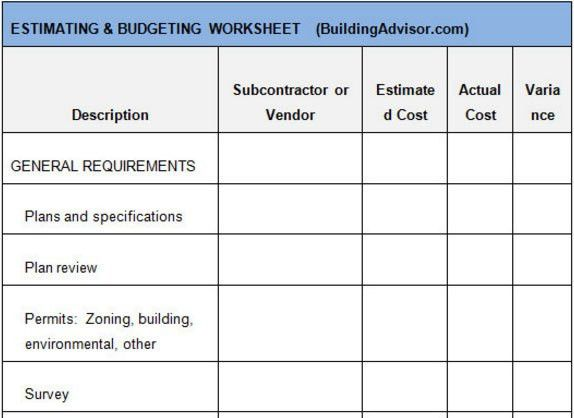Free Construction Estimate Template Download - Estimating ...