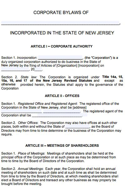 Free New Jersey Corporate Bylaws Template | PDF | Word |