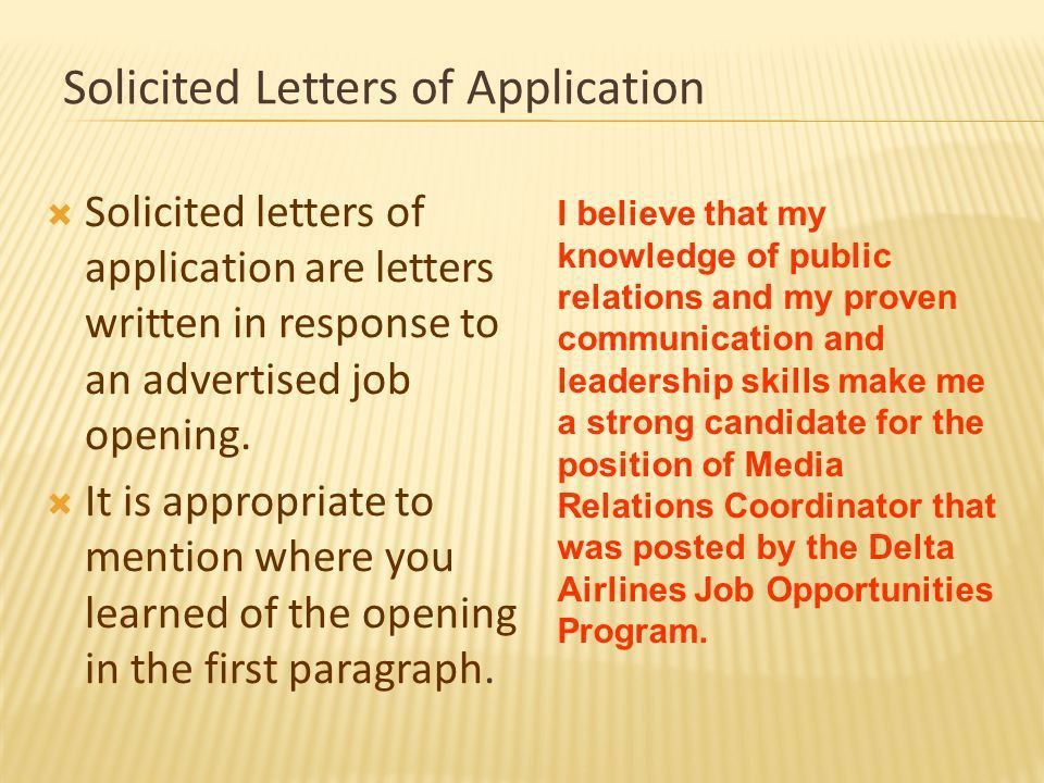 THE LETTER OF APPLICATION - ppt download