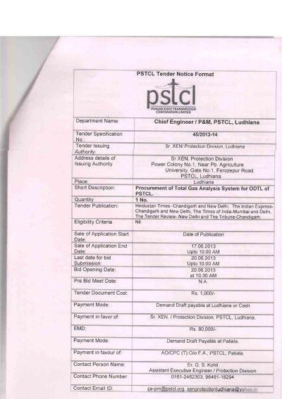 PSTCL Tender Notice Format Department Name - Punjab State ...