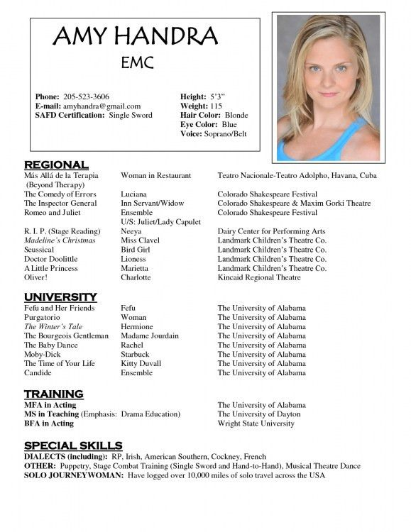 Musical Theatre Resume Examples. Acting Resume Maker | Resume ...