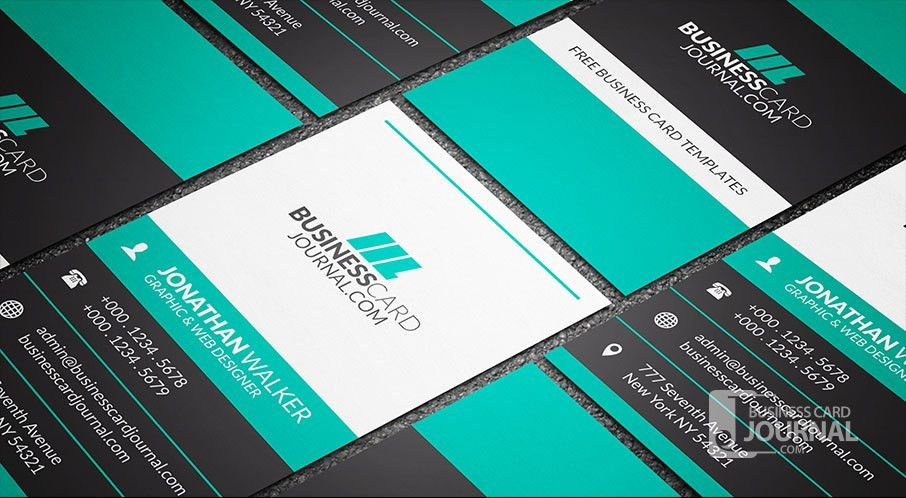 Free Bold & Contrasting Vertical Business Card Template