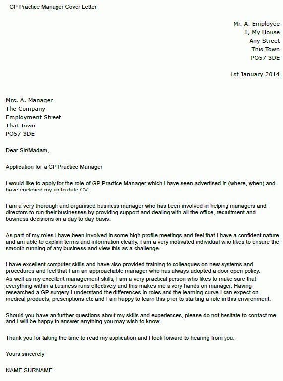 GP Practice Manager Cover Letter Example - icover.org.uk
