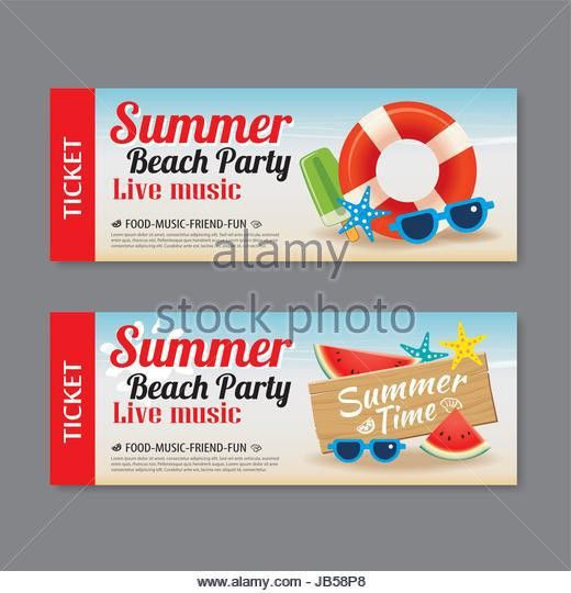 Summer Pool Party Ticket Template Stock Photos & Summer Pool Party ...
