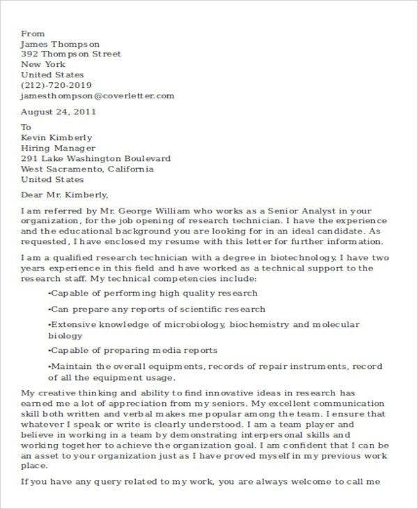 5+ Research Technician Cover Letters - Free Sample, Example Format ...