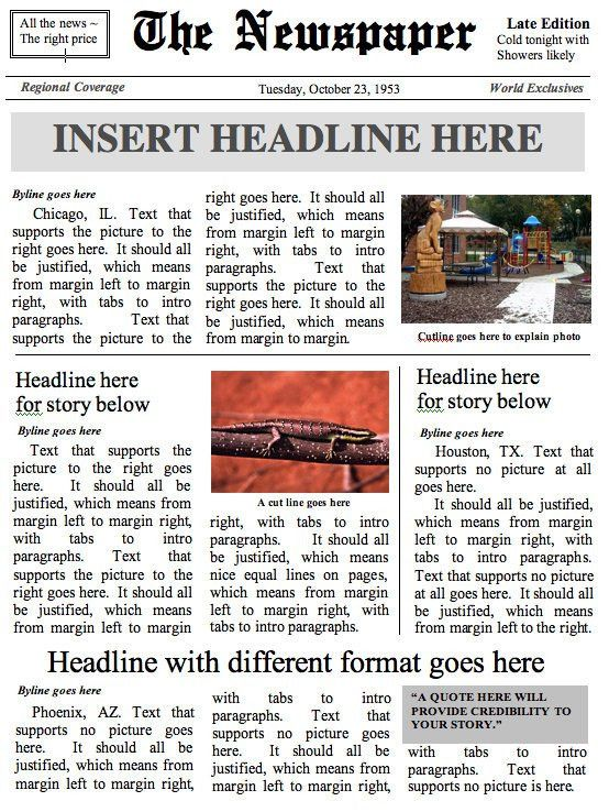 Front Page Newspaper Template MS Word Document.