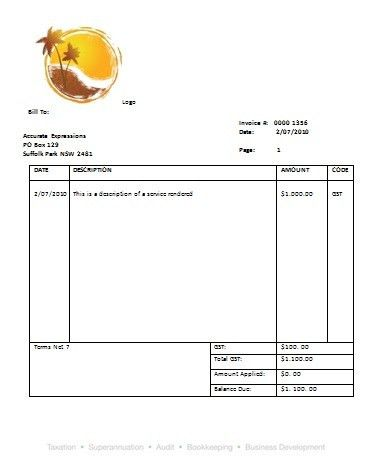 Download Blank Tax Invoice Template Australia | rabitah.net