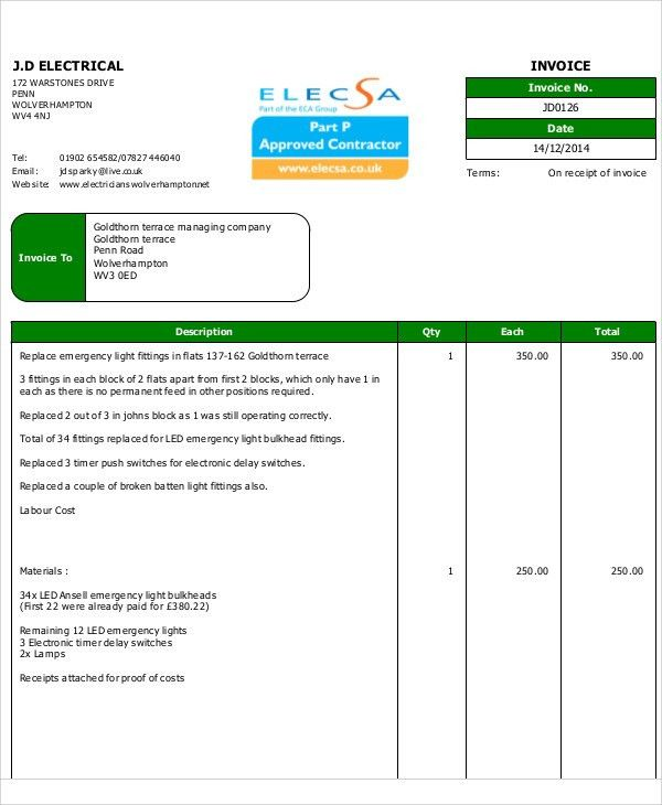 Electrical Invoice Templates - 5+ Free Word, PDF Format Download ...