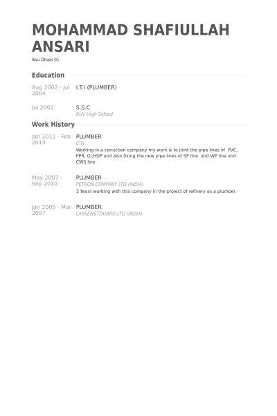 Plumber Resume samples - VisualCV resume samples database