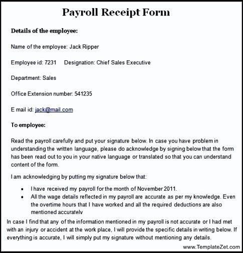 Sample Payroll Receipt Form | TemplateZet