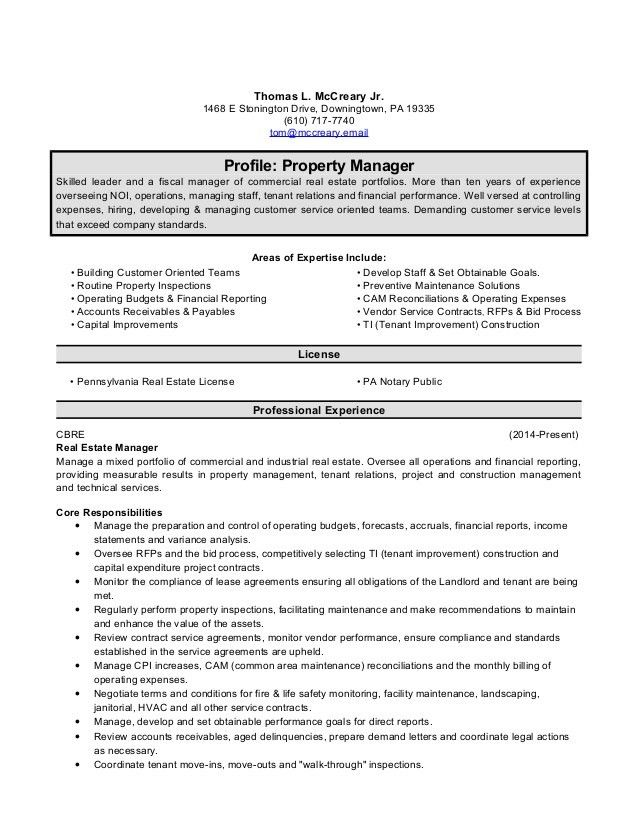 tom mccreary property manager resume. Resume Example. Resume CV Cover Letter