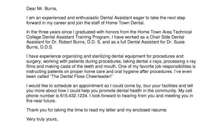 Dental Assistant Resume Cover Letter 2016 - Writing Resume Sample ...