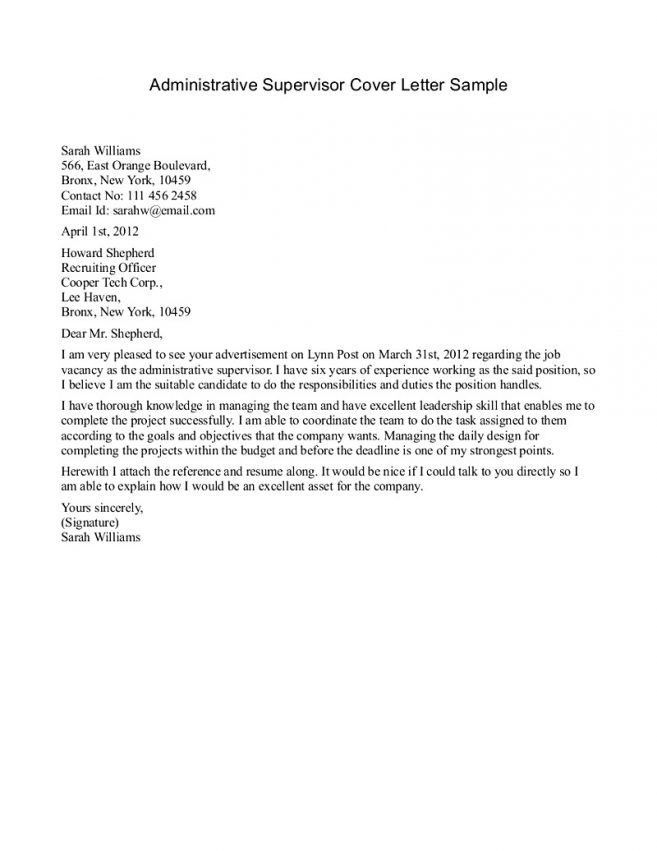 12 Supervisor Position Cover Letter Cover Letter cover letter for ...