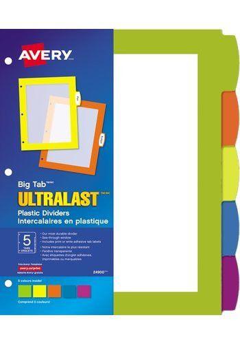 Big Tab UltraLast Plastic Dividers , 24900, Multi-colour