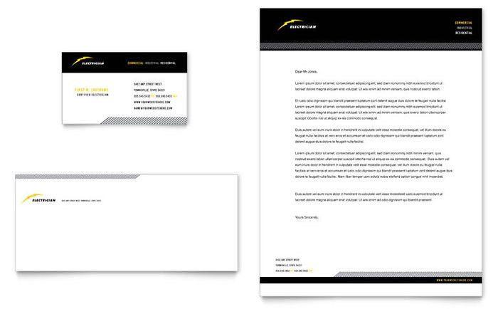 Electrician Business Card & Letterhead Template Design