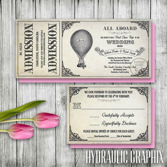 Hot Air Balloon Invitation Set Printable Ticket Invitation