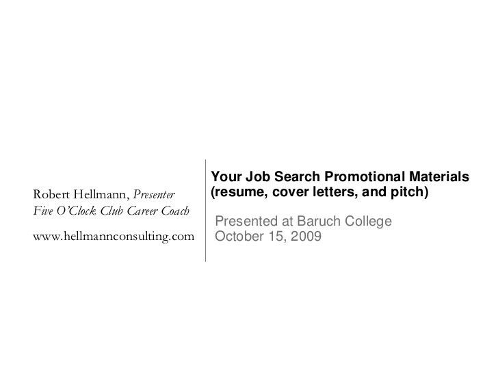 Your Job Search Promotional Materials (Resume, Cover Letters, And Pit…