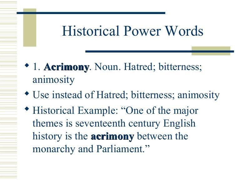Historical power words list 3