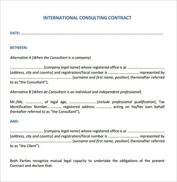 Consulting Contract Template   11+ Free Sample, Example, Format