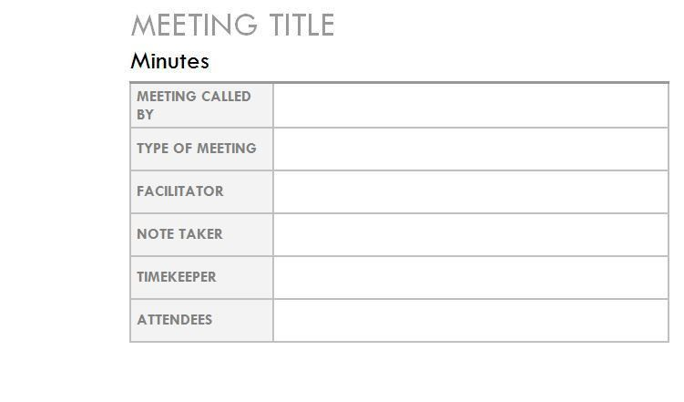 how to type minutes of a meeting template