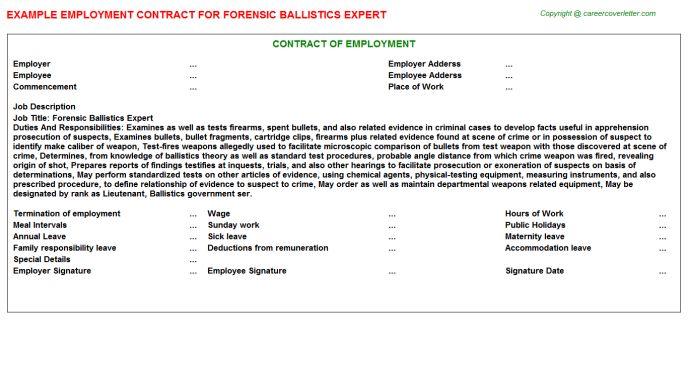 Forensic Ballistics Expert Job Title Docs