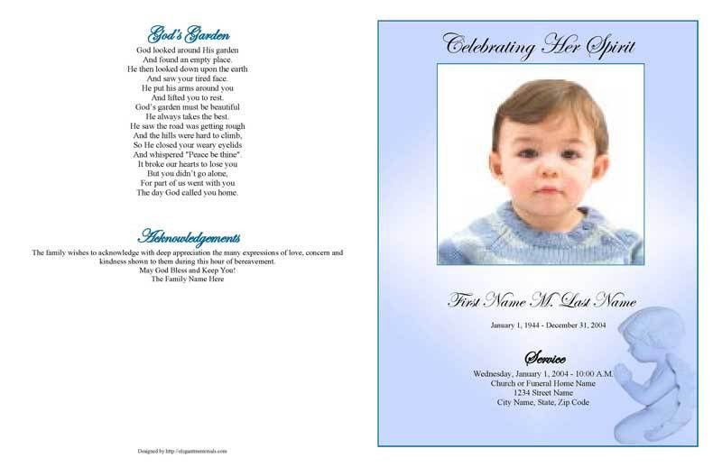 Funeral Program Templates | Large Tabloid Blue Angel