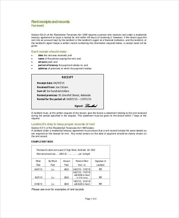 Sample Rent Receipt Formats - 9+ Examples in Word, PDF