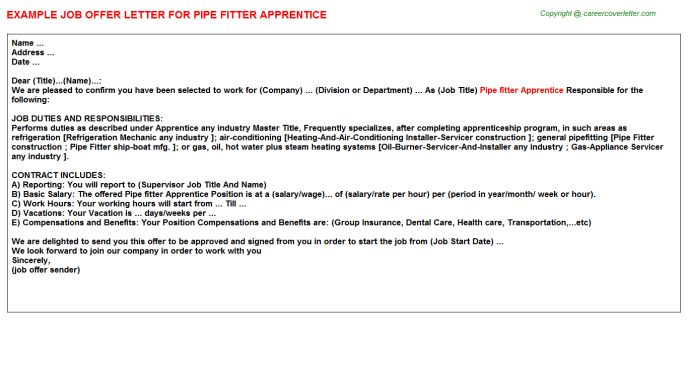 Pipefitter Apprentice Cover Letter] Sprinkler Fitter Apprentice ...