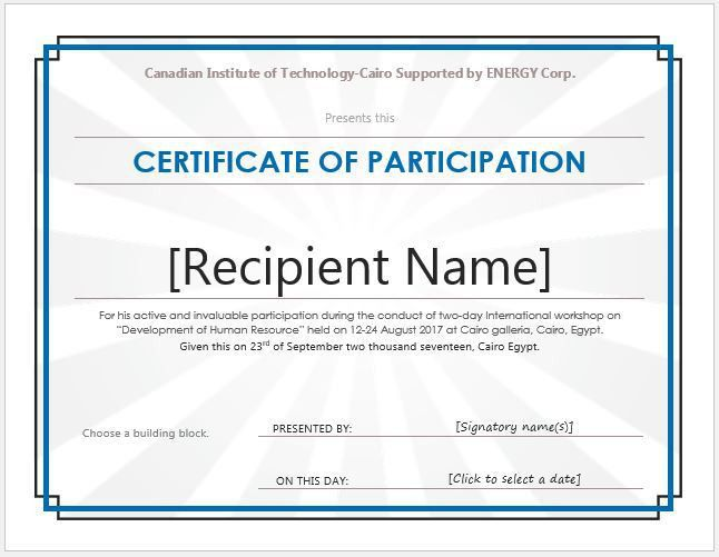 Certificate of Participation Templates for MS Word | Professional ...