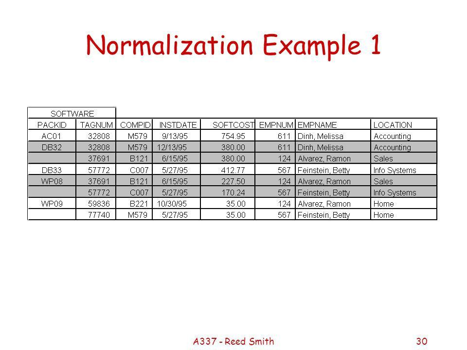 A337 - Reed Smith1 Structure What is a database? –Table of ...